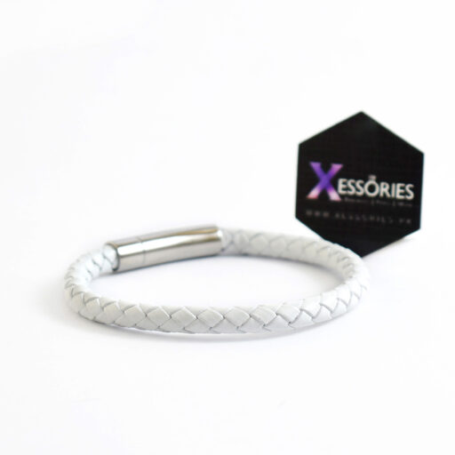 white braided leather bracelet in pakistan shop online from xessories.pk