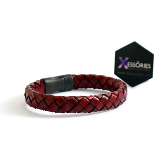 leather braided bracelet in red color by xessories in Pakistan