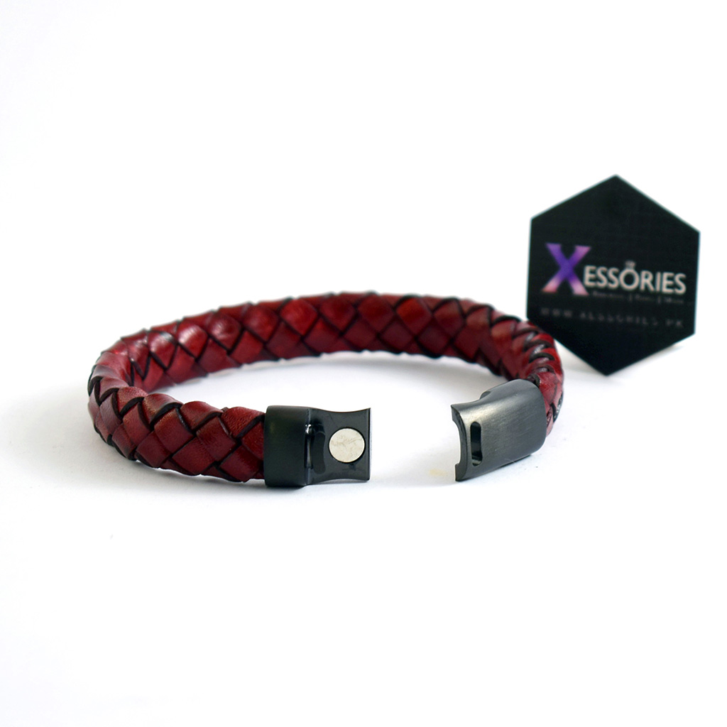 open read leather braided bracelet in pakistan by xessories pk
