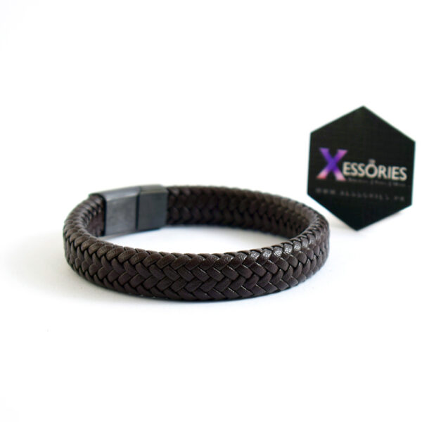 brown braided leather bracelet by xessories in pakistan