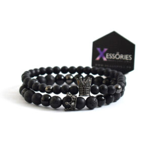 King and Queen Bracelets in Pakistan by xessories in black color with king and queen crown