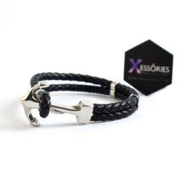 leather braided bracelet with anchor charm in black color to buy from xessories pakistan