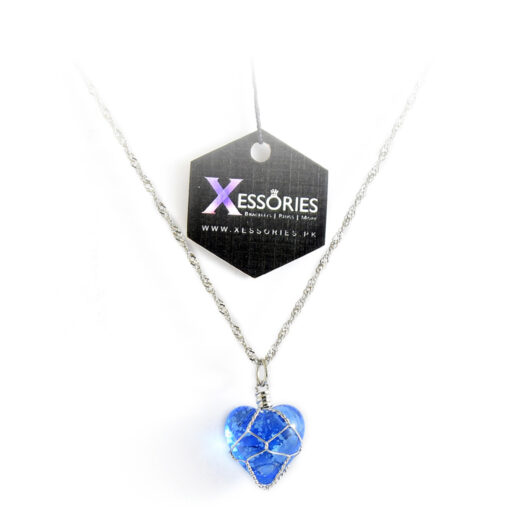 glow in the dark heart shape necklace in blue color shop online in pakistan by xessories