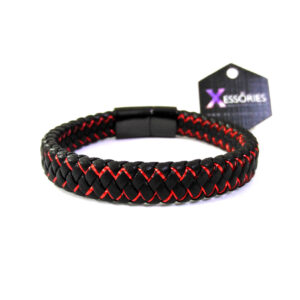 red and black color leather braided bracelet in pakistan for men