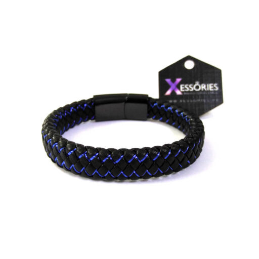 blue touch premium leather braided bracelet in pakistan by xessories