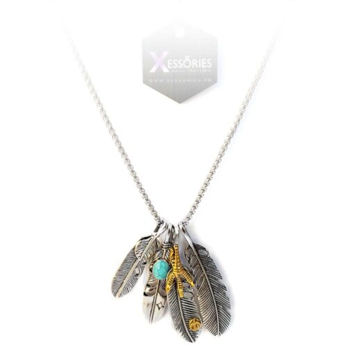 Tribal Claw Feather Bunch Necklace in Pakistan by xessories pakistan xessories.pk shop online