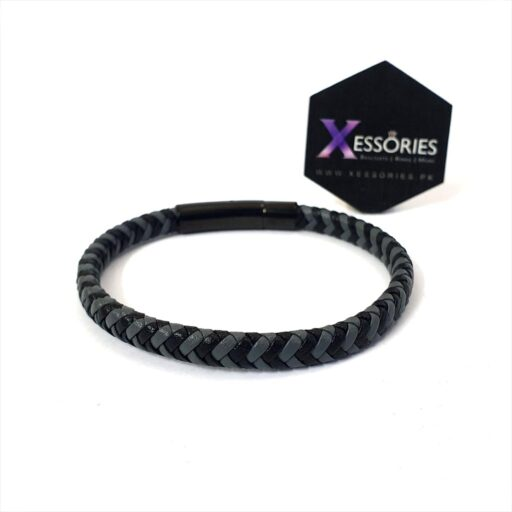 slim leather braided bracelet in grey and black color, shop online from xessories pakistan website
