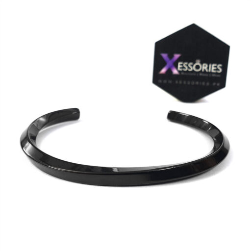 buy black metal stainless steel cuff bracelet in pakistan by xessories online