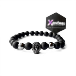 black skull beaded bracelet in pakistan shop online from Xessories