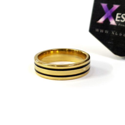 black on gold ring by xessories online shop in pakistan stainless steel