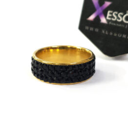 black sparkle stainless steel ring by xessories shop online in pakistan