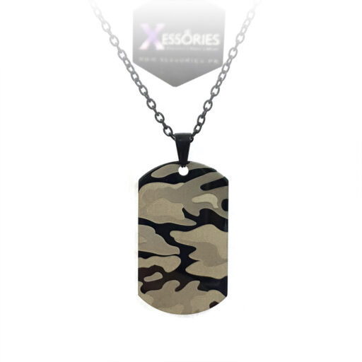 camo dog tag necklace stainless steel shop online pakistan by xessories