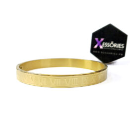 the roman bangle in golden color stainless steel by xessories shop online in pakistan
