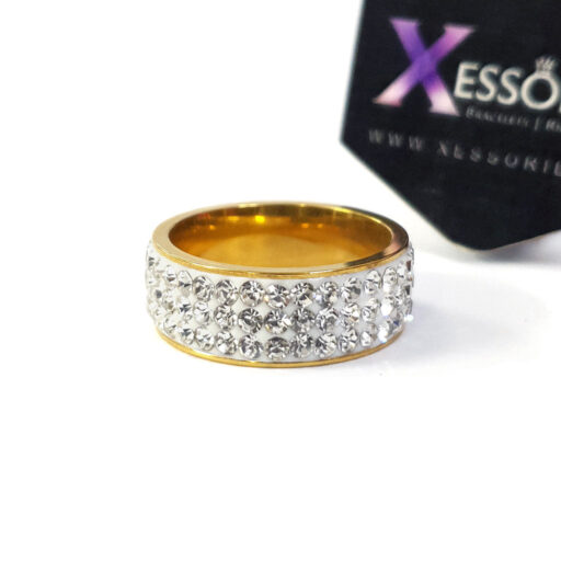 white sparkle stainless steel ring by xessories shop online in pakistan