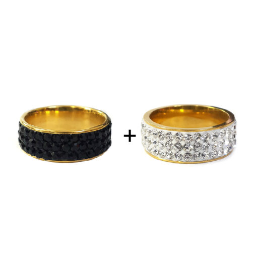 black and white sparkle ring bundle of 2 by xessories shop online in pakistan