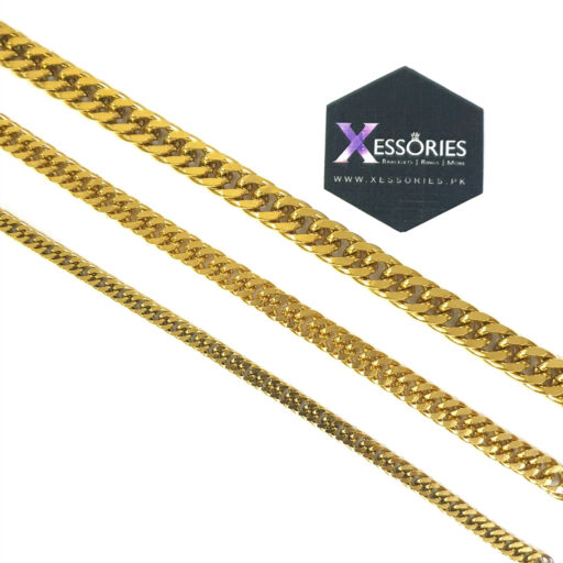 double curb stainless steel bracelet in gold color shop online in pakistan at xessories