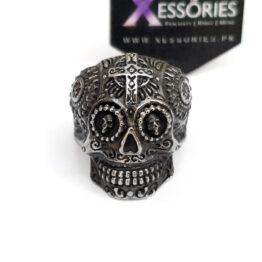 Crossed Sugar Skull Ring in Pakistan by xessories.pk in stainless steel