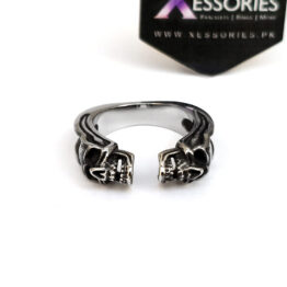 Open Twin Skulls Ring in Pakistan by xessories.pk in stainless teel