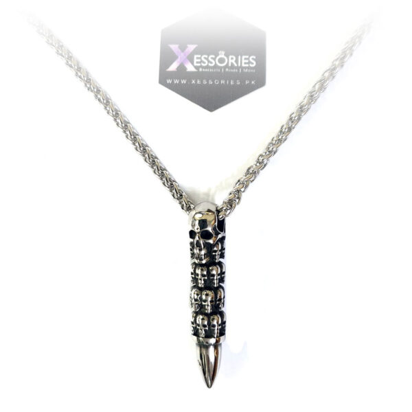 bullet from hell necklace with 3mm wheat deluxe chain by xessories pakistan