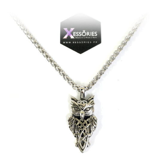 wise owl pendant in pakistan with 5mm wheat chain by xessories